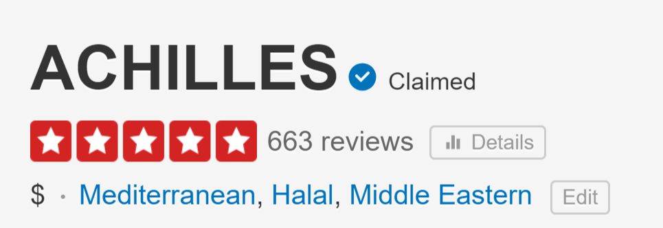 5 Star Yelp Image of Achilles